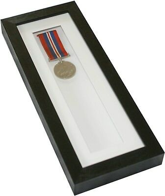 """Tall or Wide Shadow box display frame for keepsakes, keys, medals 12""""x4"""" Black"""