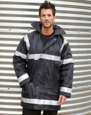 Result Workwear Coat Insulated Lined Waterproof Hood Safety Reflective Hi Viz