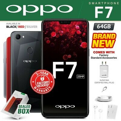 New & Sealed Factory Unlocked OPPO F7 Black Red Silver 64GB Android Smartphone