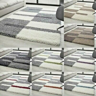 Shaggy Fluffy Rug Geometric Design Thick Soft Carpets Small X Large Hallway Mats