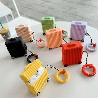 For AirPods Charging Protective Silicone Case Creative Cute Trunk Shape Luggage
