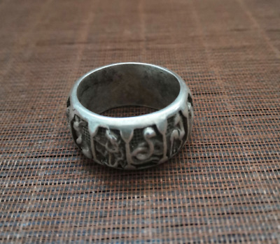 UNIQUE CHINA TIBETAN SILVER RING 12 zodia EXORCIST MASCOT COLLECTION GIFT DECORA
