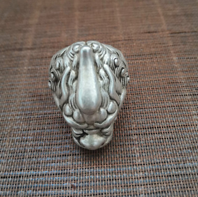 UNIQUE CHINESE TIBETAN SILVER RING STATUE lionh head MASCOT HANDICRAFT COLLECT