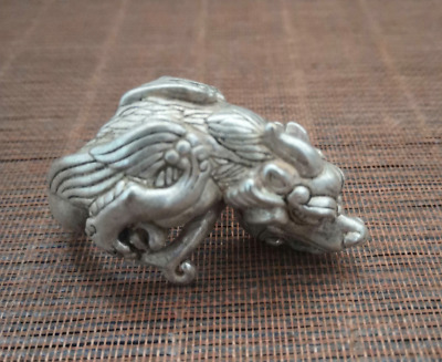 UNIQUE CHINESE TIBETAN SILVER RING STATUE Wolf MASCOT HANDICRAFT COLLECT