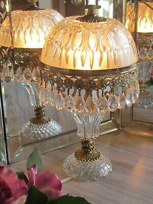 Vintage French Glass Dome Crystal Prism  Chandelier Cherub Boudoir Table Lamp