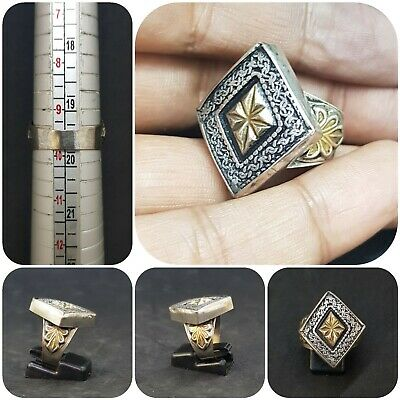 Wonderful Silver And Gold Gilded Unique Design Rare Beautiful Ring # O12