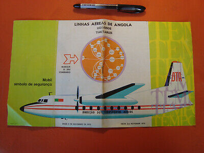 1970 Antique DTA Angola Airways time table ORIGINAL VERY RARE