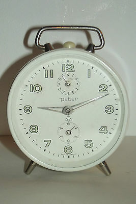 Antique Clock Vintage 1970 Peter White Clock Mechanical Deco Design Clock