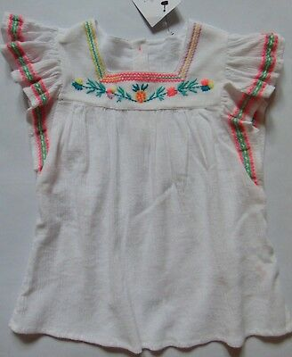 Girls White Mix Crinkle Cotton Top w/Embroidered Trim Age 4-5 & 5-6