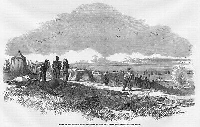 CRIMEAN WAR French Camp on the day after the Battle of ALMA - Antique Print 1854