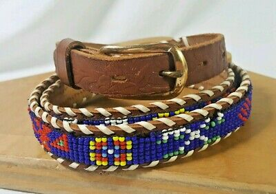 989a602d4 Vintage 1950's Hand Beaded Belt Cowhide Hand Made Native American Indian  size 38