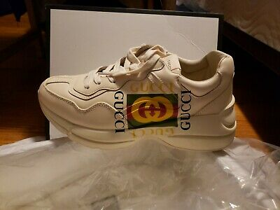 90a220eef RHYTON GUCCI LOGO leather sneakers us 9 men/women - $580.00 | PicClick