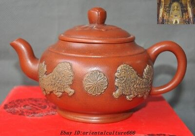 "7""Old Chinese Yixing Zisha pottery hand carving lion Beast teapot pot Tea make"