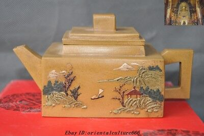 "6""Chinese Yixing Zisha pottery carving landscape calligraphy teapot pot Tea make"