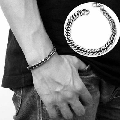 Chic Men's Silver Gold Hiphop Rapper Chain Punk Wristband Bracelet Bangle Gift