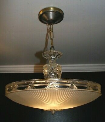 Antique frosted 16 inch glass shade Art Deco ceiling light fixture chandelier