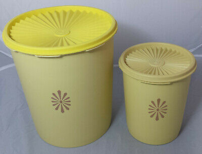 2 Yellow 1970s Vintage / Retro Tupperware Harvest  Storage Containers - Fan Lid