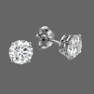 1.50Ct Solitaire Round Cut Diamond Push Back Stud Earrings 14K White Gold