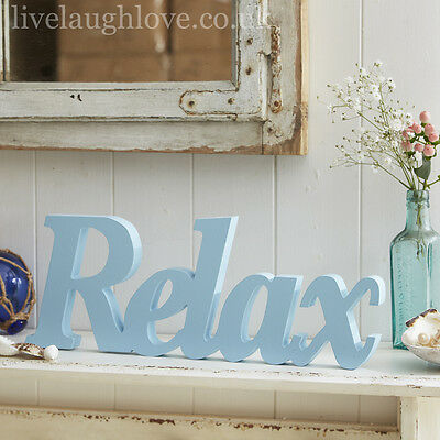Large Blue Wooden Word - RELAX