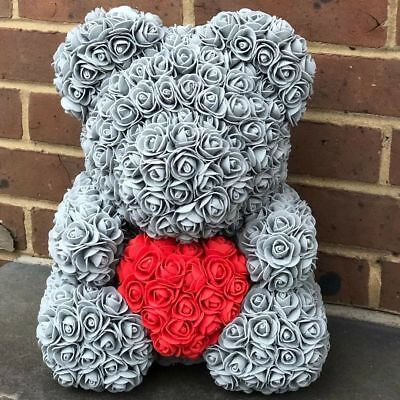 """15"""" Grey Rose Bear Flower Ted Wedding Birthday Valentine Gifts Toys for Her"""