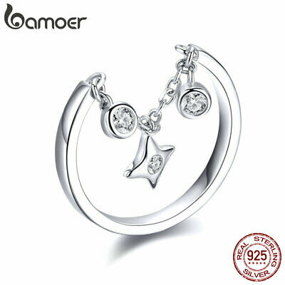 BAMOER Solid S925 Sterling silver Ring Starry With AAA CZ For Women Jewelry