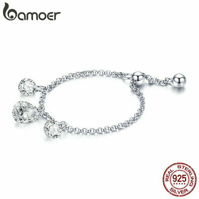 BAMOER Solid S925 Sterling silver Glow ring With AAA CZ For Women Ladies Jewelry