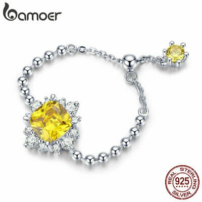 BAMOER Solid S925 Sterling silver Restro ring With AAA CZ For Women Jewelry