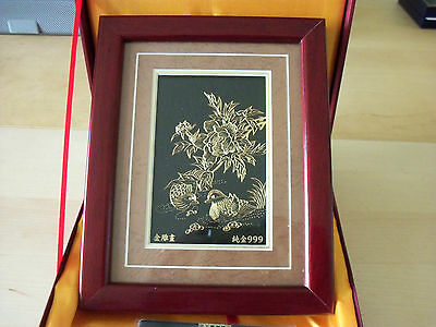 Hand Engraved 24K Gold Plated Wall / Free Standing Chinese Plaque Boxed FREE P&P