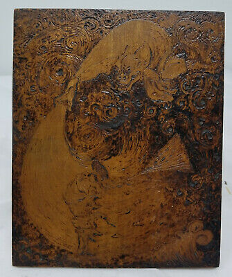 Antique Pyrography Signed Japanese Aesthetic Painting Demon Oni Wood Carving