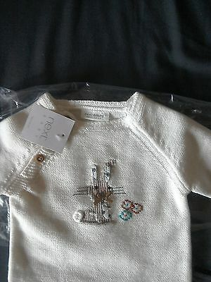 Bnwt Next Baby Girls Cream Bunny Rabbit Jumper Upto 1 Month
