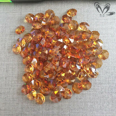 20Pcs Amber OCTAGON CRYSTAL GLASS Beads Chain Prisms DIY Pendant Suncatcher 14MM