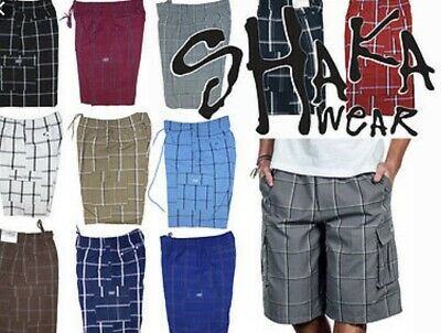 Shaka Mens Casual Cargo Shorts Plaid Shorts Loose Fit Checkered Hip Hop Shorts