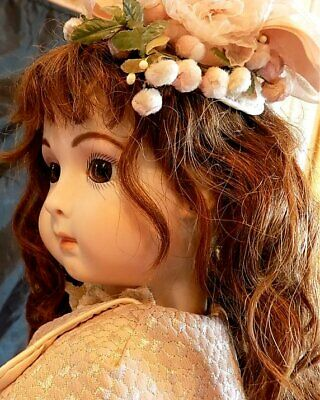 """SIMON & HALBIG ? 24"""" ANTIQUE GERMAN or FRENCH REPRO DOLL in GORGEOUS OUTFIT"""