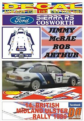 DECAL FORD SIERRA RS COSWORTH JIMMY McRAE ULSTER R. 1989 5th (03)