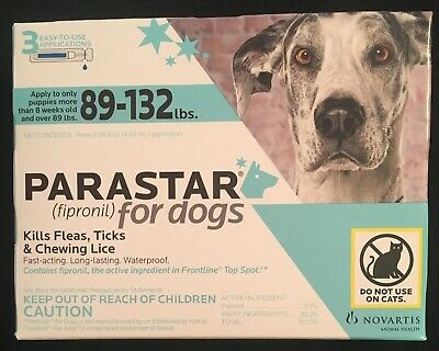PARASTAR for Dogs 89-132 lbs.  3 Applications , 3 Month for Flea & Tick Control
