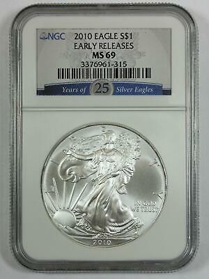 2010 $1 - American Eagle Silver Bullion - EARLY RELEASE 25 Years - MS 69 78466