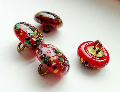 Lot Of 4 Antique Red Spattered Glass Buttons    3/8""