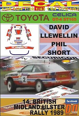 DECAL TOYOTA CELICA GT-4 D.LLEWELLIN ULSTER R. 1989 3rd (01)