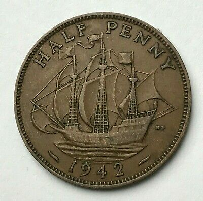 Dated : 1942 - Half Penny - 1/2d Coin - King George VI - Great Britain