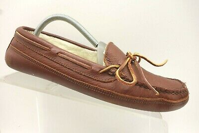 5d6d05c9dd4f LL Bean Brown Leather Shearling Lined Moccasin Loafer Slipper Shoes Men s 8  M