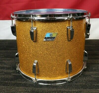 Vintage 1970's Ludwig 12x15 Marching Tenor Tom Drum Gold Sparkle