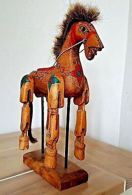 Vintage Hand Carved and Hand painted Wooden Horse with flexible legs