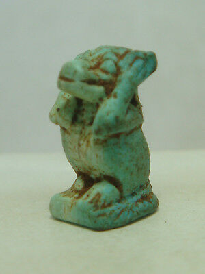 Ancient Egyptian god Thoth / Baboon (hands on head) - Amulet (Faience)