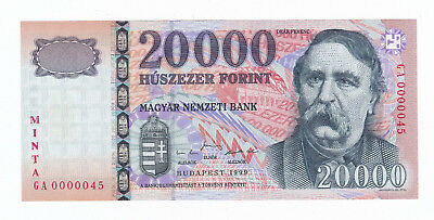 Hungary - 20000 Forint Specimen Banknote 1999 UNC, Extra Rare VERY LOW S. Number