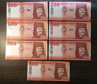 Hungary 500 Forint 7 Consecutive Serial  Banknote 2018(2019) , UNC