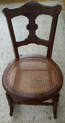 Antique Small Wood Carved Cane Rocking Chair