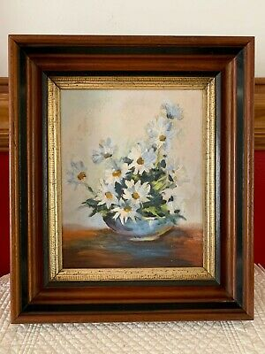"ANTIQUE VICTORIAN WOOD PICTURE FRAME WALNUT w/ WHITE DAISIES PAINTING 12"" x 14"""