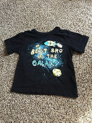 """Children's Place 3T """"best Bro In The Galaxy"""" Tee Shirt Black Cc324Ss"""