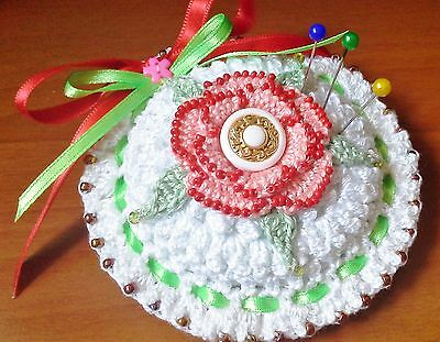Handmade Crocheted And Beaded Floral Pin Cushion / Alfiletero / Acerico