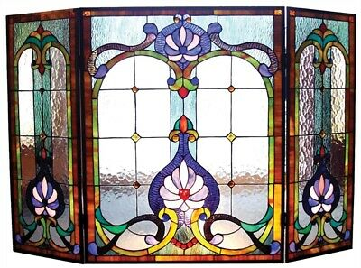 "44"" W Royal Victorian Style Stained Glass 3 PC Fireplace Screen Decor"